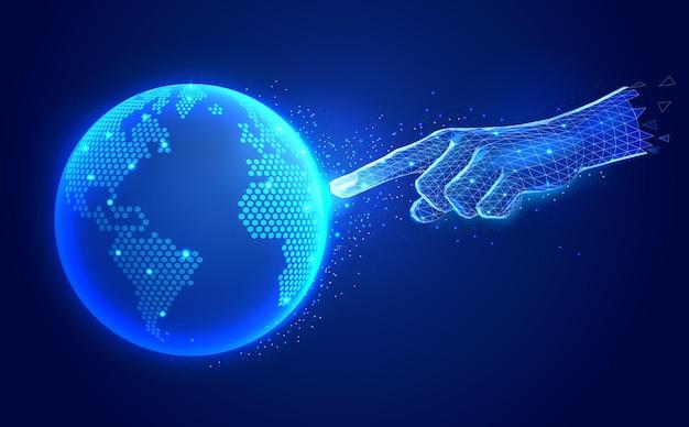 Ilustracja Technologii Komunikacji Cyfrowej Sztucznej Inteligencji Premium Wektorów