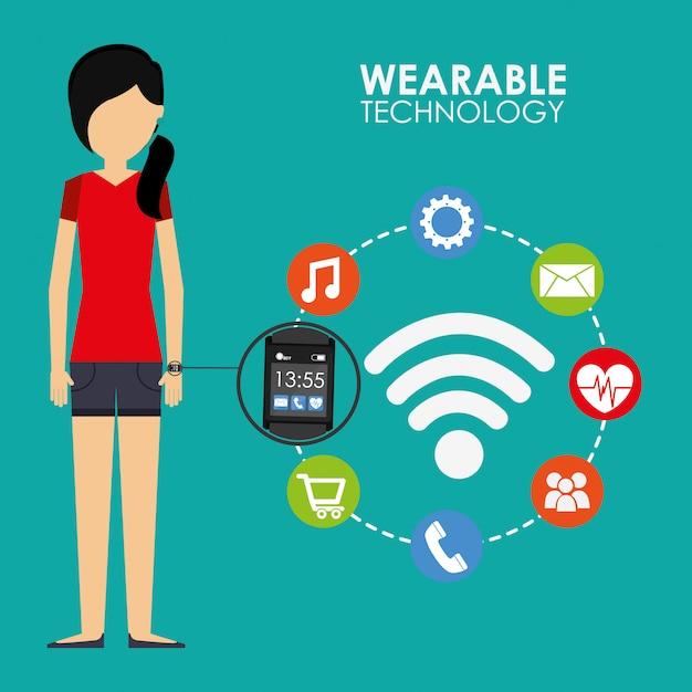 Ilustracja technologii noszenia Darmowych Wektorów