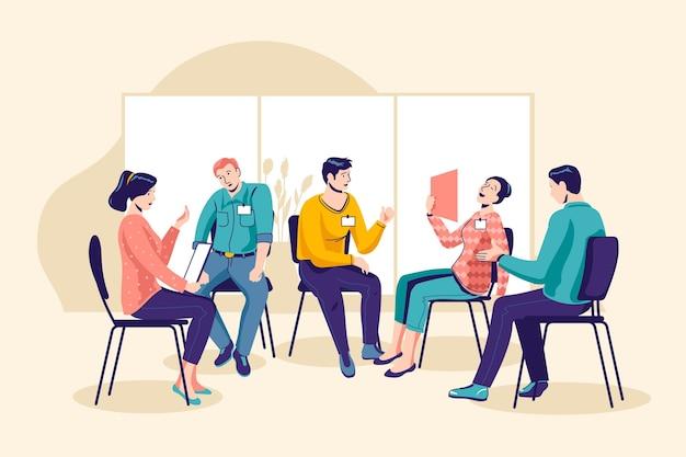 Ilustracja Terapii Grupowej Darmowych Wektorów