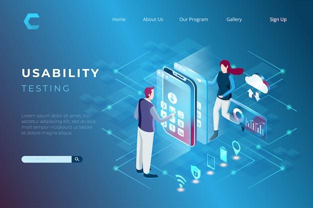 Ilustracja Testów Użyteczności W Rozwoju Technologii W Izometrycznym Stylu 3d Premium Wektorów