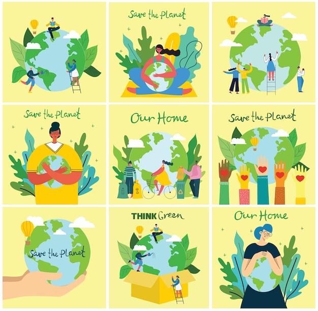 Ilustracja Tła Eko Koncepcji Zielonej Energii Ekologicznej I Cytat Zapisz Planetę, Myśl Ekologicznie I Recyklingu Odpadów Premium Wektorów