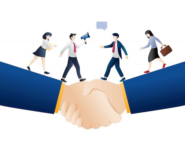 Ilustracja transakcji biznesowych Premium Wektorów