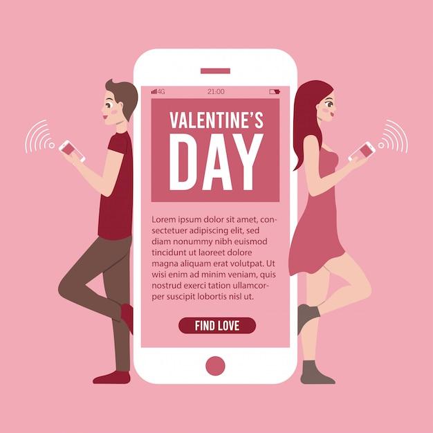 Ilustracja Transparent Walentynki Z Aplikacji Na Telefon I Kilka Rozmów Online Darmowych Wektorów