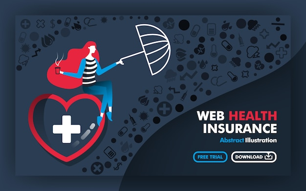 Ilustracja Transparentu Internetowego Ubezpieczenia Zdrowotnego Premium Wektorów