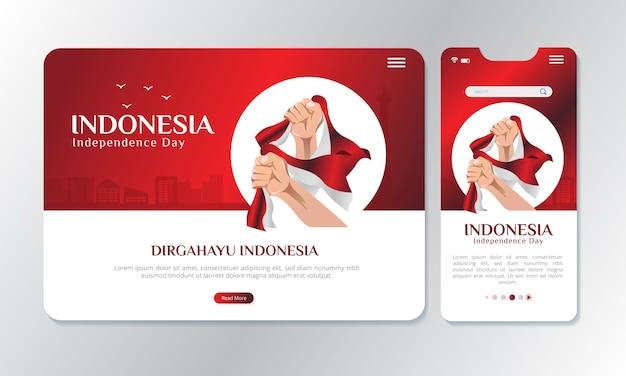 Ilustracja trzyma indonezyjską flagę narodową z ekranem Premium Wektorów