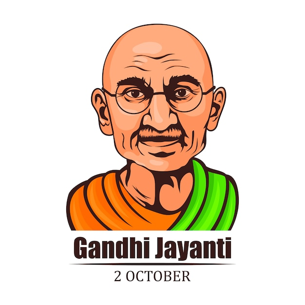 Ilustracja Twarzy Mahatma Gandhi Jayanti Premium Wektorów