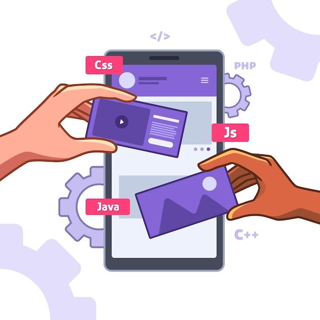 Ilustracja Tworzenia Aplikacji Premium Wektorów
