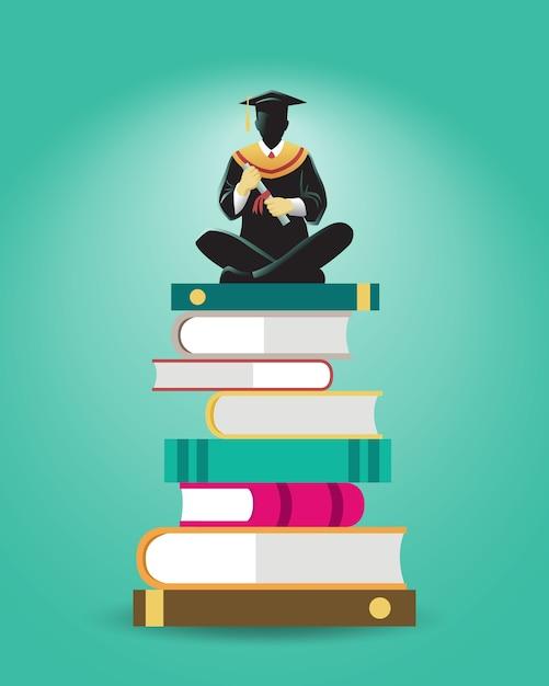 Ilustracja Uczonego Siedzieć Na Stosie Dużych Książek Premium Wektorów