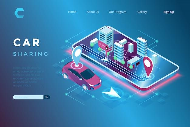 Ilustracja Udostępniania Samochodów I Lokalizacji Zintegrowanego Internetu Przedmiotów W Izometrycznym Stylu 3d Premium Wektorów