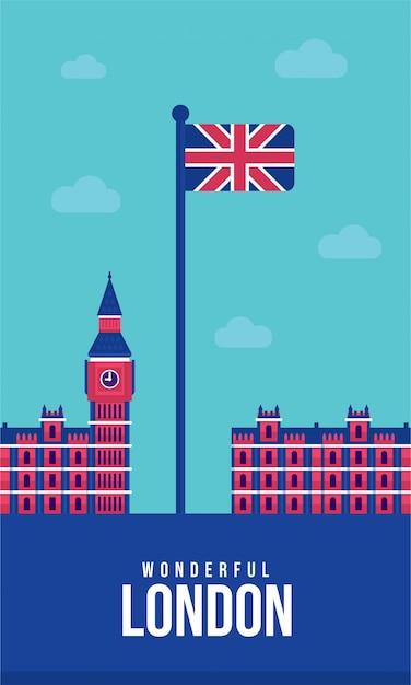 Ilustracja union jack flat plakat Premium Wektorów