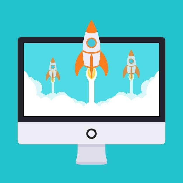 Ilustracja uruchamiania. rakiety startują z monitora w chmurach białego dymu Premium Wektorów