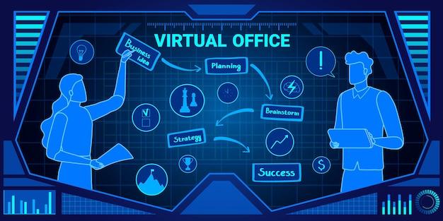Ilustracja Usługi Biura Wirtualnego. Premium Wektorów