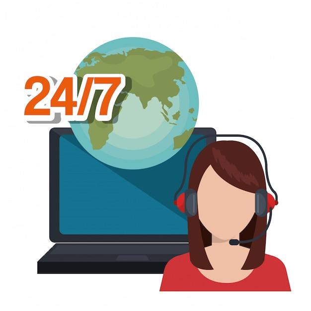 Ilustracja usługi call center Darmowych Wektorów
