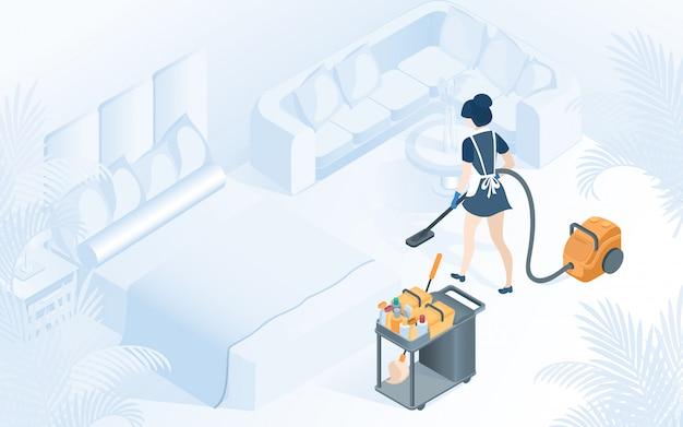 Ilustracja usługi sprzątanie pokoju hotelowego Premium Wektorów