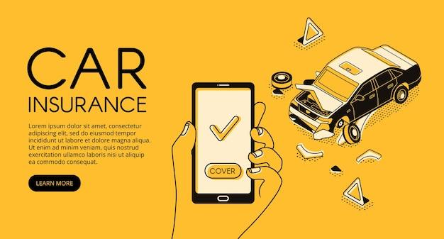 Ilustracja usługi ubezpieczenia samochodu od wypadku pojazdu i pomocy odzyskiwania kierowcy Darmowych Wektorów