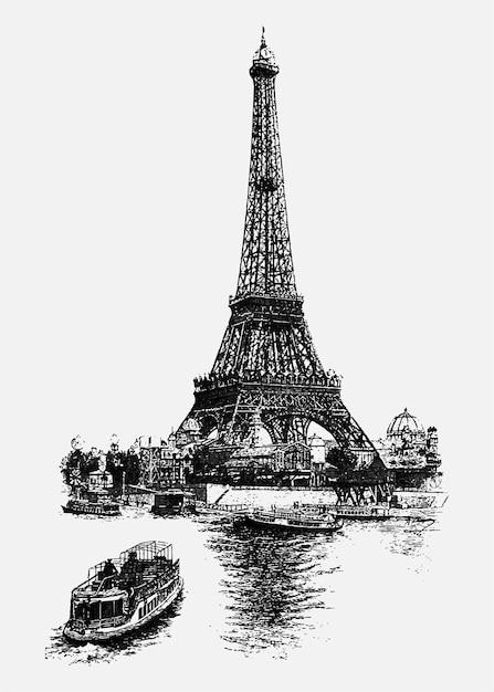 Ilustracja vintage, wieża eiffla Darmowych Wektorów