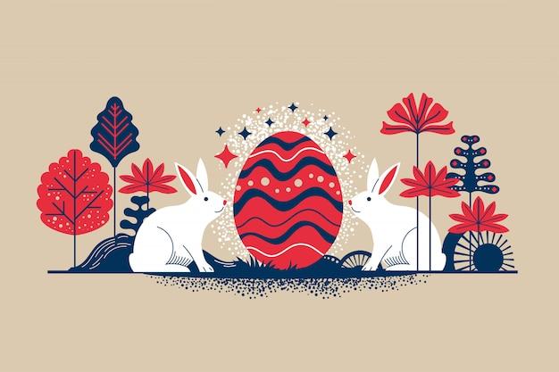 Ilustracja W Stylu Retro Wesołych świąt Wielkanocnych Kartkę Z życzeniami Z Kwiatami Jaj I Elementów Królika Premium Wektorów