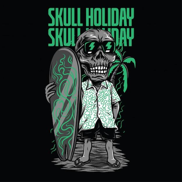 Ilustracja wakacje czaszki Premium Wektorów