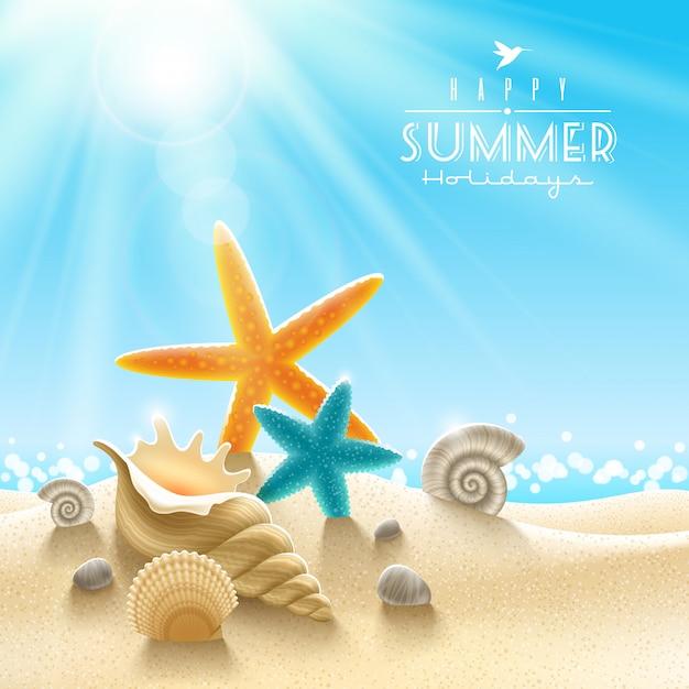 Ilustracja Wakacje Letnie - Mięczaki Morskie Na Piaszczystej Plaży Przed Słoneczny Pejzaż Morski Premium Wektorów