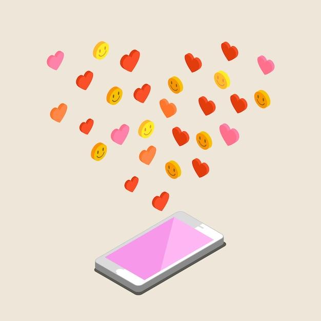 Ilustracja Walentynki. Odbieranie Lub Wysyłanie Miłosnych E-maili I Smsów Na Walentynki, Związek Na Odległość. Płaska Konstrukcja, Ilustracji Wektorowych Premium Wektorów