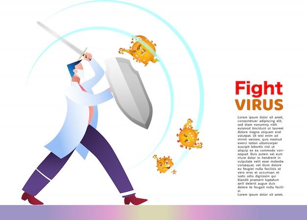 Ilustracja Walka Z Wirusem Korony Covid-19. Wyleczyć Wirusa Koronowego. Koncepcja Wirus Walki Z Lekarzem Premium Wektorów