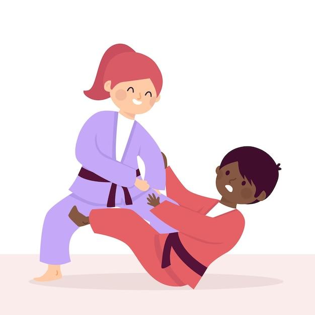 Ilustracja Walki Sportowców Jiu-jitsu Darmowych Wektorów
