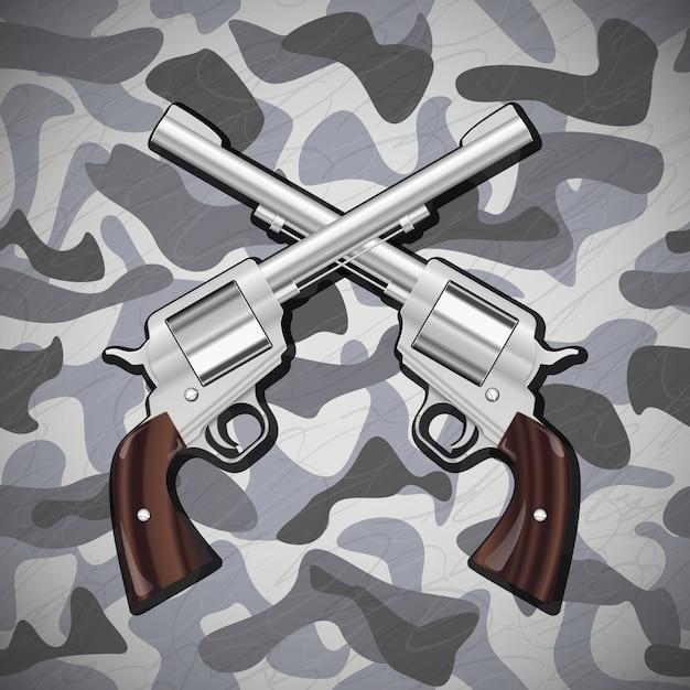 Ilustracja Wektor Skrzyżowane Pistolety Na Tle Kamuflażu Premium Wektorów