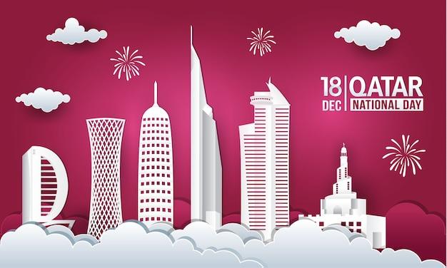 Ilustracja Wektorowa 18 Grudnia święto Narodowe Kataru Z Panoramę Miasta Premium Wektorów