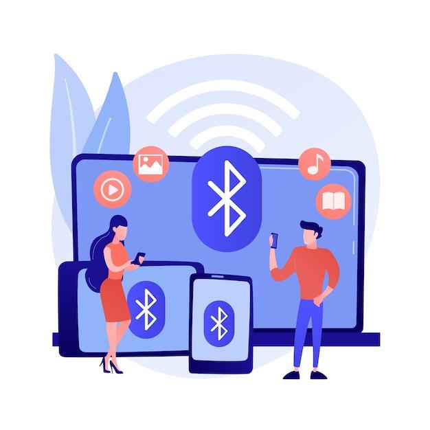 Ilustracja Wektorowa Abstrakcyjna Koncepcja Połączenia Urządzenia Bezprzewodowego. Połączenie Na Odległość, Zdalny Standard, Komunikacja Bezprzewodowa, Sieć Komputerowa, Rozwiązywanie Problemów, Abstrakcyjna Metafora Przesyłania Danych. Darmowych Wektorów