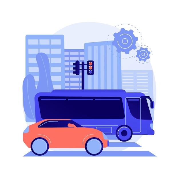 Ilustracja Wektorowa Abstrakcyjna Koncepcja Transportu Powierzchniowego. Transport Drogowy, Przemieszczanie Się Towarów, Transport Drogowy Lub Kolejowy, Ciężarówka Na Autostradzie, Ruch Na Rondzie, Szybka Jazda Samochodem, Abstrakcyjna Metafora Przystanku Autobusowego. Darmowych Wektorów
