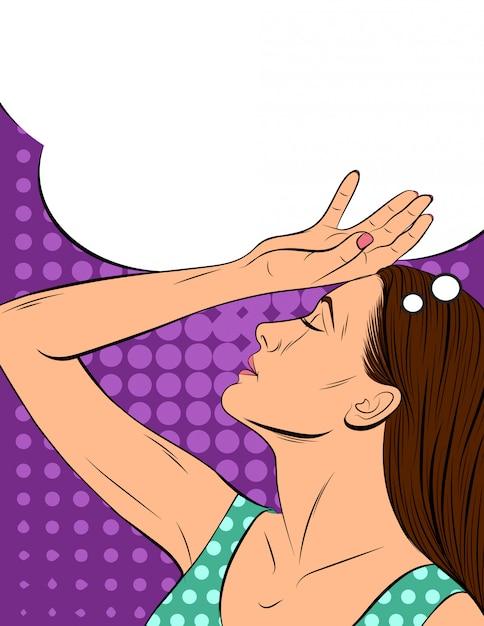 Ilustracja Wektorowa Atrakcyjnej Dziewczyny W Stylu Pop-art. Młoda Kobieta Trzyma Dłoń Blisko Głowy. Premium Wektorów