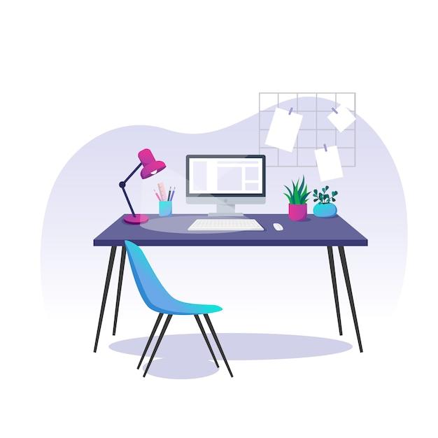 Ilustracja Wektorowa, Biuro W Domu. Komputer, Artykuły Papiernicze I Rośliny Domowe Na Biurku. Premium Wektorów