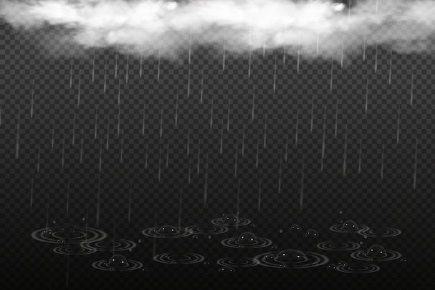 Ilustracja Wektorowa Chłodnej Pogody Z Chmurą I Ulewnym Deszczem. Premium Wektorów