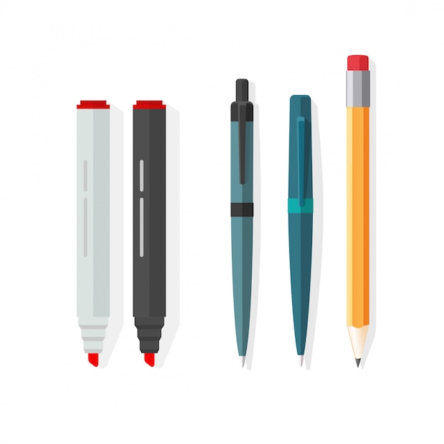 Ilustracja Wektorowa Długopisy, Ołówki I Markery W Płaski Kreskówka Premium Wektorów
