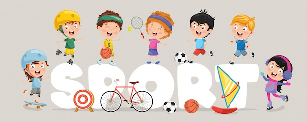 Ilustracja wektorowa dzieci sportu Premium Wektorów