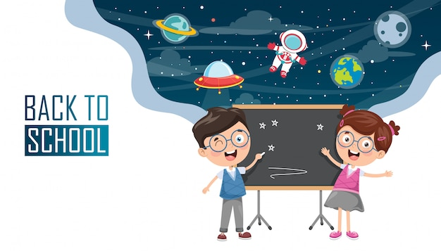 Ilustracja wektorowa dzieci z powrotem do szkoły Premium Wektorów