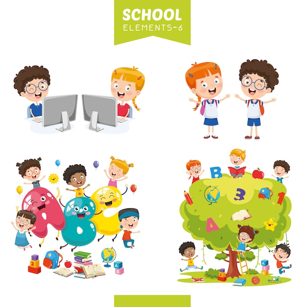 Ilustracja wektorowa elementów edukacji Premium Wektorów
