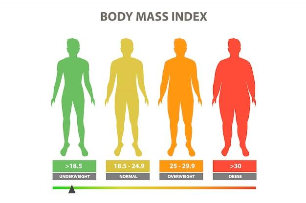 Ilustracja wektorowa indeksu masy ciała Premium Wektorów