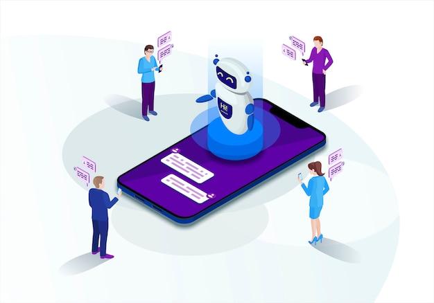 Ilustracja wektorowa izometryczny chatbot Premium Wektorów