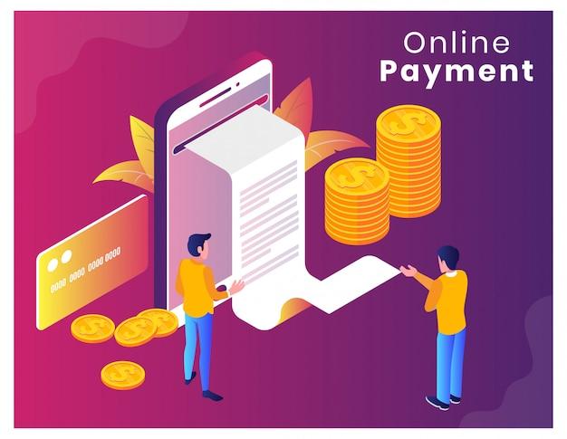 Ilustracja wektorowa izometryczny płatności online Premium Wektorów