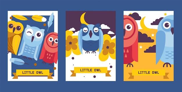 Ilustracja wektorowa kartki urodzinowe sowa. kreskówka mądre ptaki ze skrzydłami w innym kolorze na zaproszenia i uroczystości. Premium Wektorów
