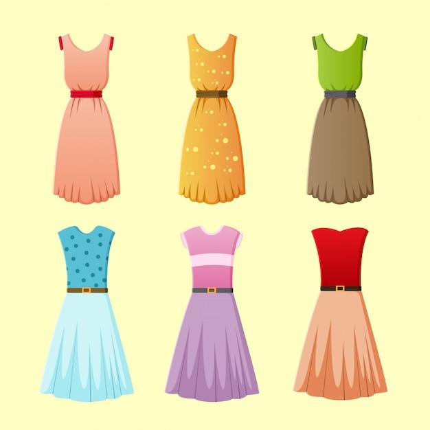 Ilustracja Wektorowa Kolekcji Damskiej Sukni Premium Wektorów