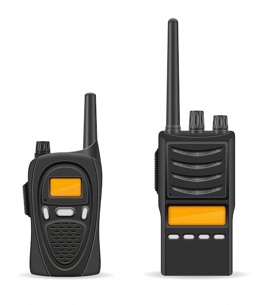 Ilustracja wektorowa komunikacji radiowej walkie-talkie Premium Wektorów