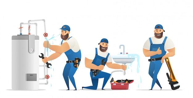 Ilustracja wektorowa koncepcja hydraulik usługi Premium Wektorów