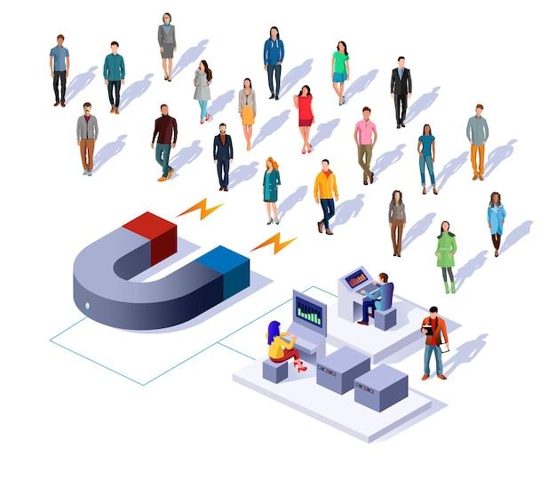 Ilustracja Wektorowa Koncepcja Izometryczny Przyciągania Klientów. Premium Wektorów