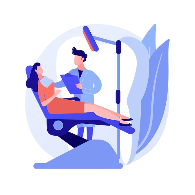 Ilustracja Wektorowa Koncepcja Streszczenie Leczenia Stomatologicznego. Klinika Stomatologiczna, Usługa Pielęgnacji Zębów, Narzędzie Do Leczenia Próchnicy, Fotel Dentystyczny, Pomoc W Nagłych Przypadkach Bólu Zęba, Abstrakcyjna Metafora Procedury Ortodontycznej. Darmowych Wektorów