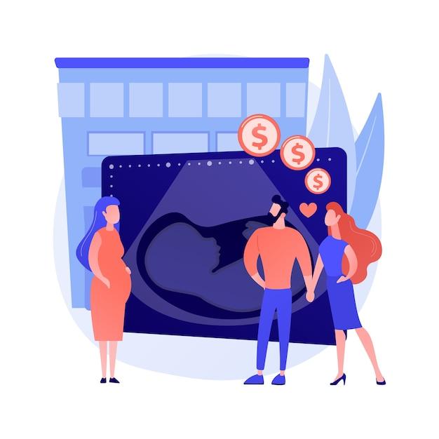 Ilustracja Wektorowa Koncepcja Streszczenie Matka Zastępcza. Noszące Dziecko, Kobieta W Ciąży, Brzuch Kobiety, Biologiczna Matka, Zostawanie Rodzicami, Adopcja, Szczęśliwa Para Spodziewa Się Dziecka Abstrakcyjnej Metafory. Darmowych Wektorów