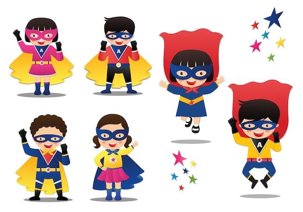 Ilustracja Wektorowa Kreskówka Dzieci Superhero Premium Wektorów