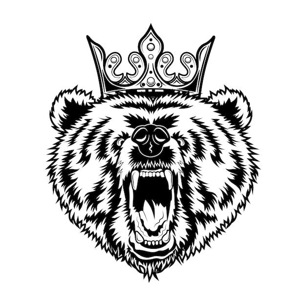 Ilustracja Wektorowa Króla Niedźwiedzia. Głowa Wściekłego Ryczącego Zwierzęcia Z Królewską Koroną Darmowych Wektorów