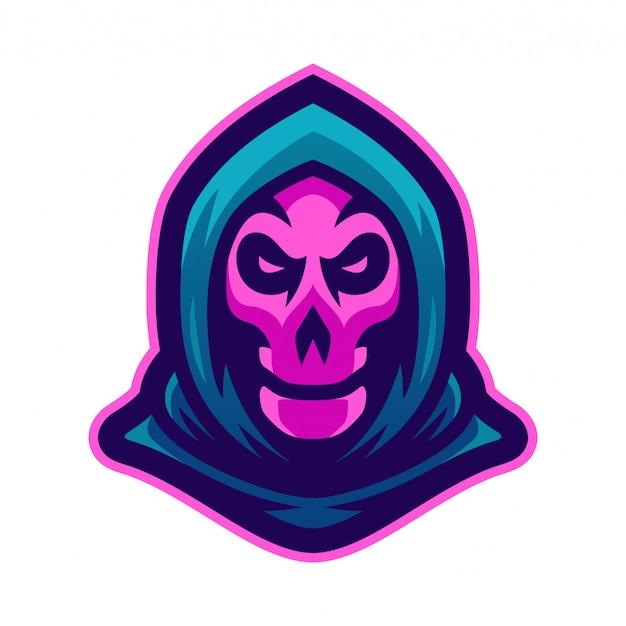 Ilustracja wektorowa logo maskotka grim reaper Premium Wektorów
